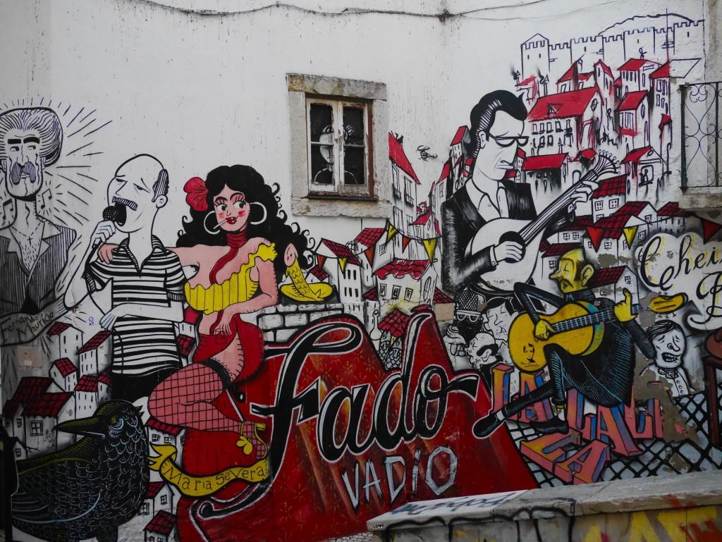 Street art Lisbon- fado singers thesweetwanderlust.com