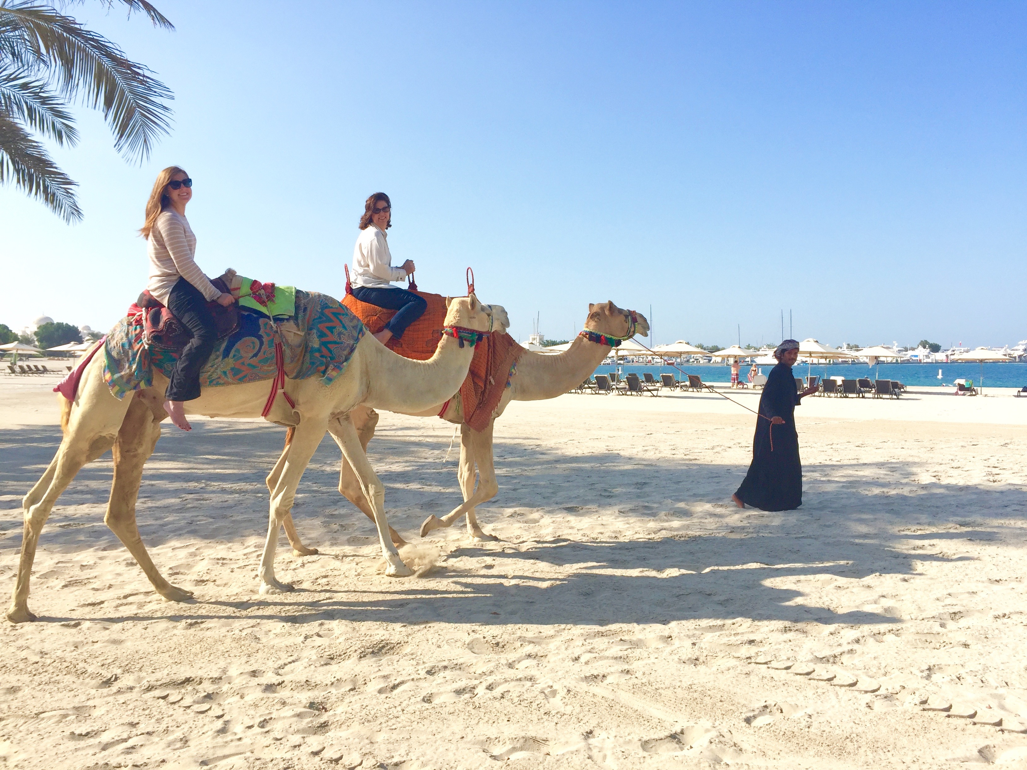 Camel riding at the Emirates Palace in Abu Dhabi thesweetwanderlust.com