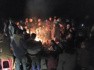 Lesvos refugees campfire