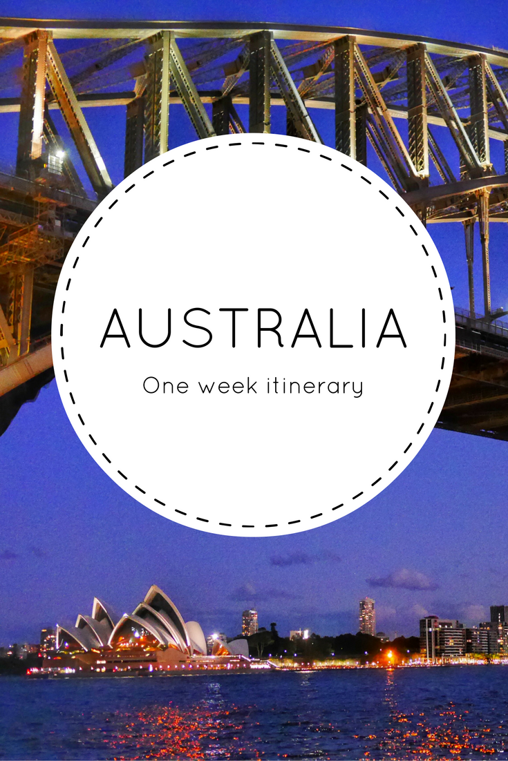 One week Australian itinerary