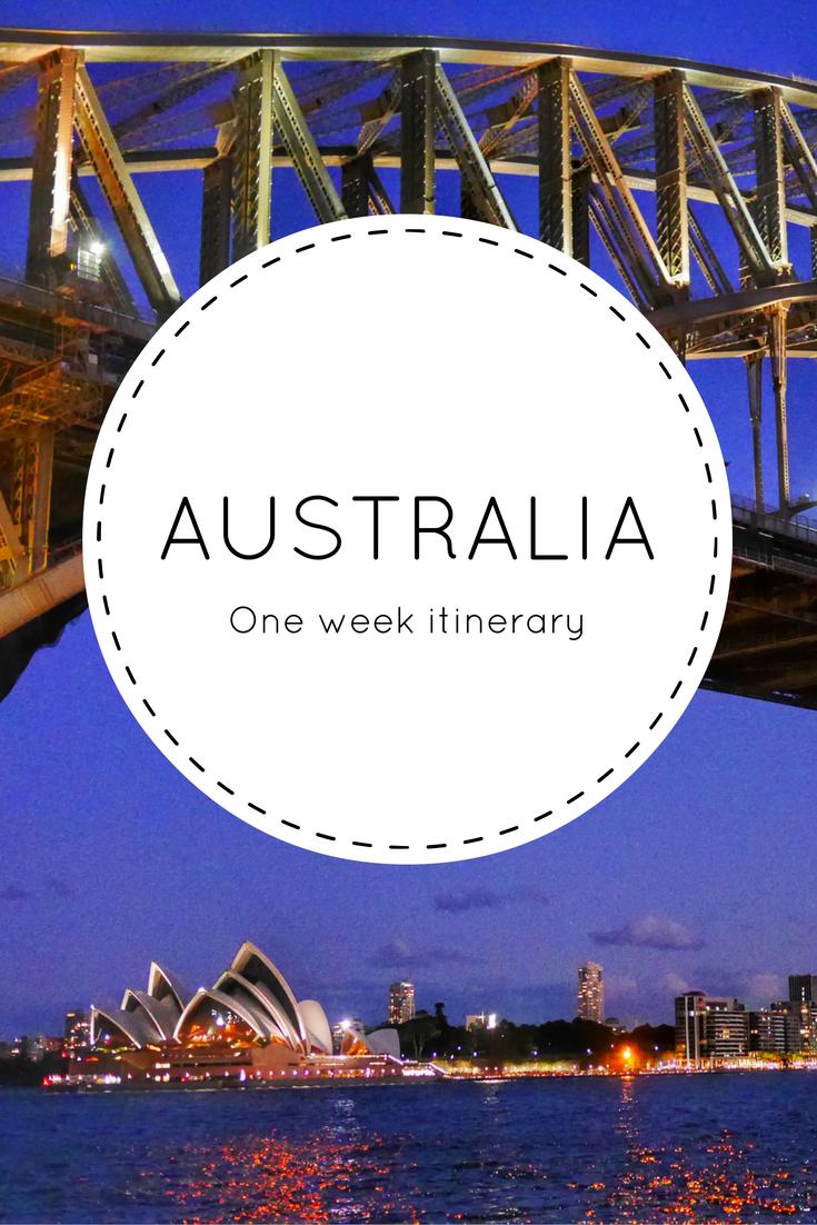 One week Australian itinerary
