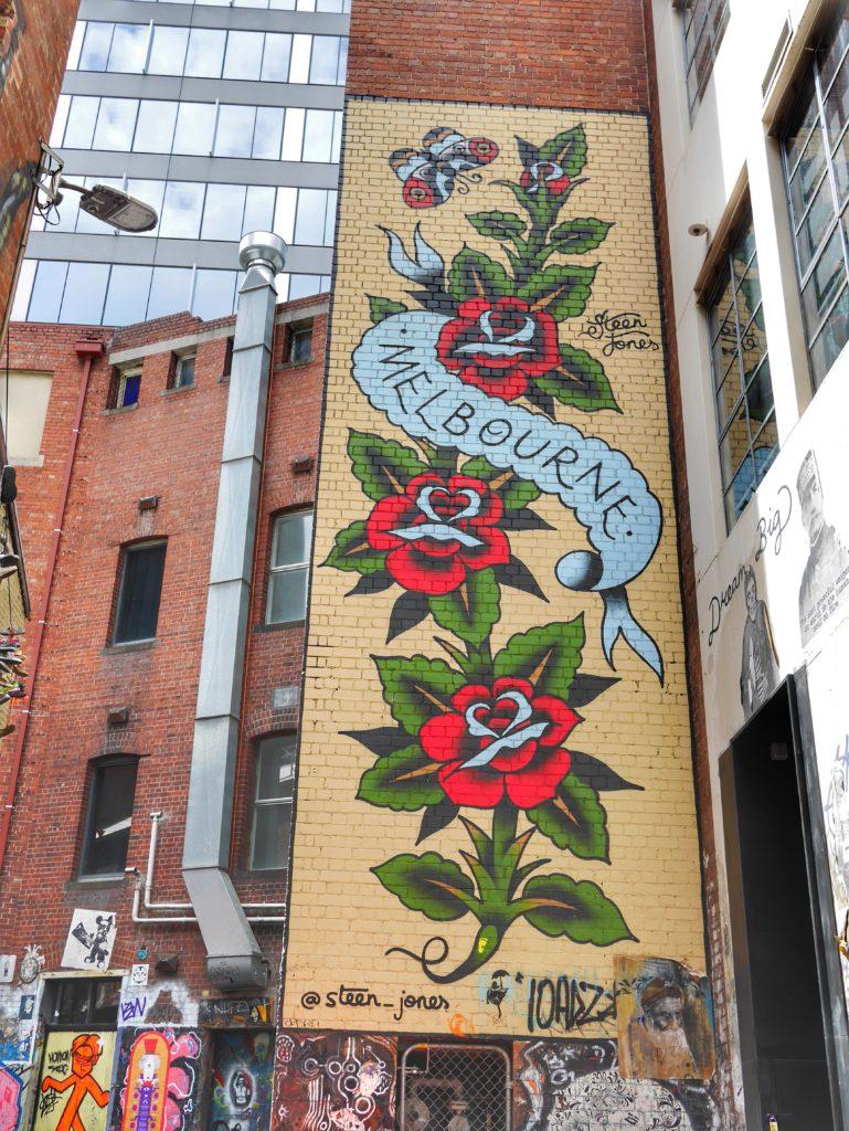 Melbourne CBD best street art Duckboard Place roses