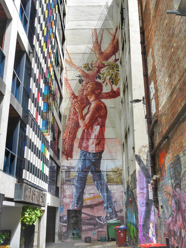 Melbourne CBD best street art Duckboard Place tree