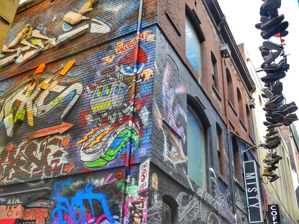 Melbourne CBD best street art Hosier shoes