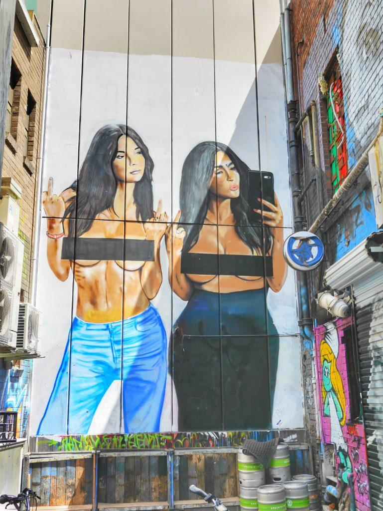 Melbourne CBD best street art Sniders Kim Kardashian Liberated Lushsux thesweetwanderlust.com