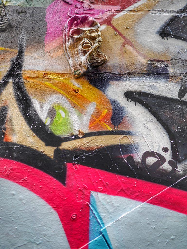 Melbourne CBD best street art Union Lane mask