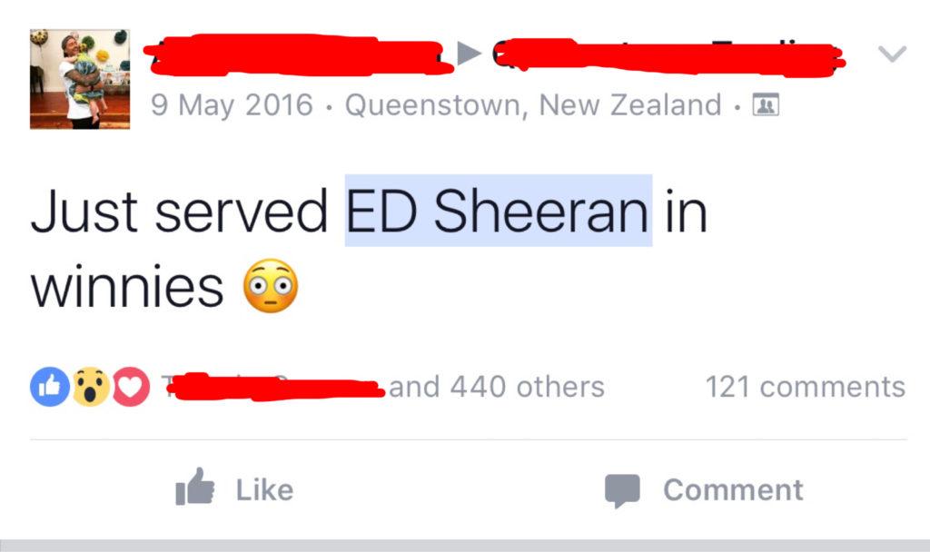 Ed Sheeran in Queenstown at Winnie's