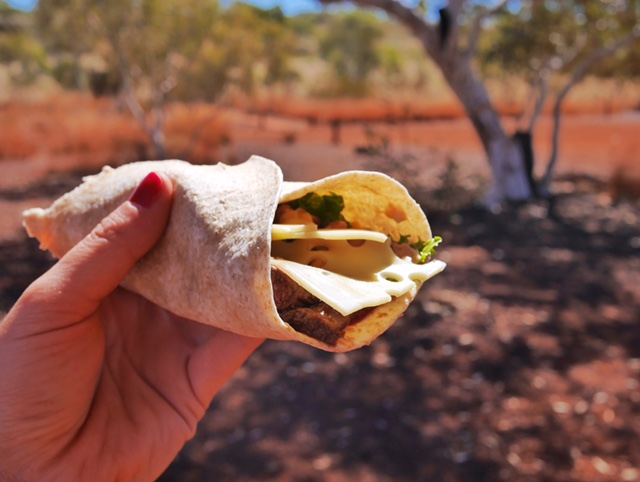 Flying Sandgroper marinated kangaroo wrap