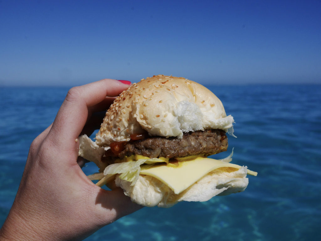 Cheeseburgers after Swimming with manta rays Ningaloo Marine Interactions