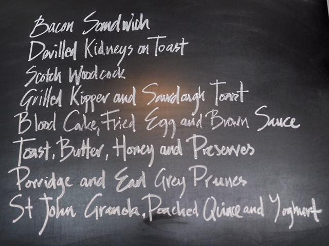 East End Food Tour St John Bread and Wine menu