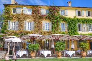 La Bastide Saint-Antoine outdoor seating at Jacques Chibois' restaurant