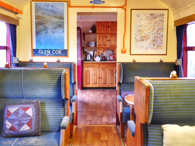 Glenfinnan Viaduct Hostel in a traincar