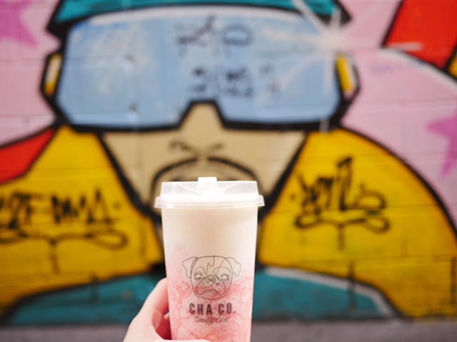 Cha Co Strawberry frappe and Melbourne street art