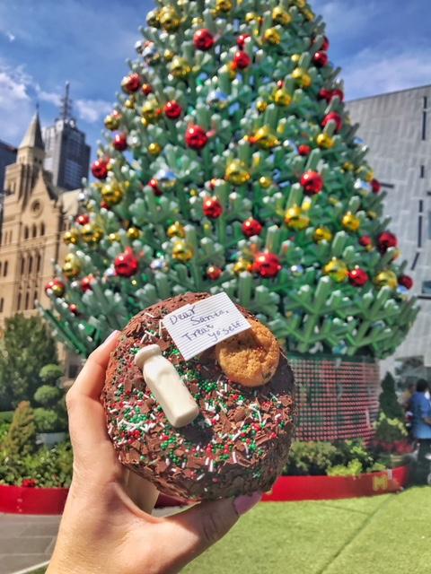 Santa's milk and cookies donut