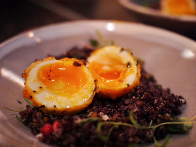 Uncle Restaurant black wild rice and panko crumbed hens egg Melbourne