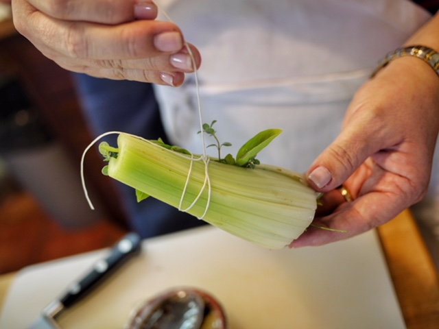 Bouquet garnis with celery and hard herbs