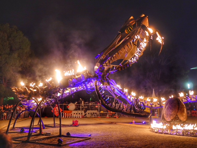 Serpent Mother White Night sculpture from Burning Man
