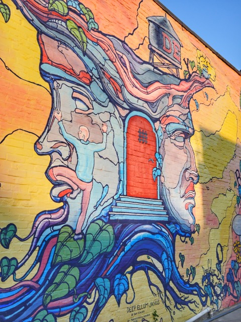 Deep Ellum Janus Mural in Dallas Texas