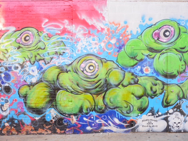 Deep Ellum Murals in Dallas Texas green blobs