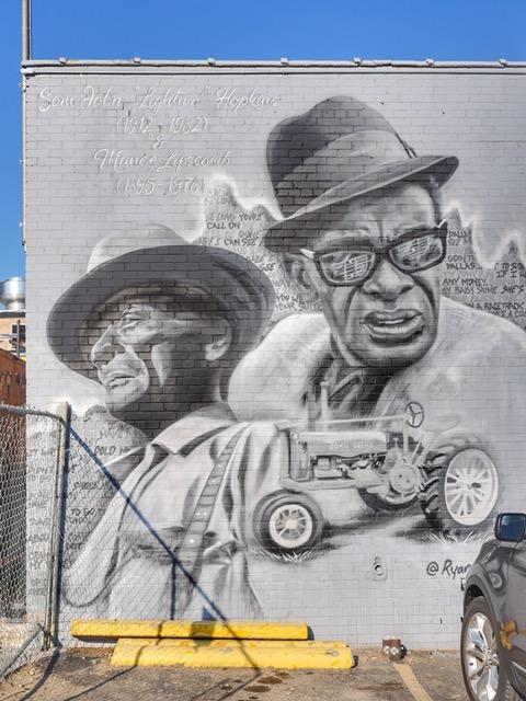 "Sam John ""Lightnin"" Hopkins and Mance Lipscomb Deep Ellum Street Art Dallas"