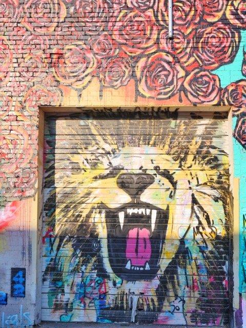 Deep Ellum Street Art Dallas TX lion and roses