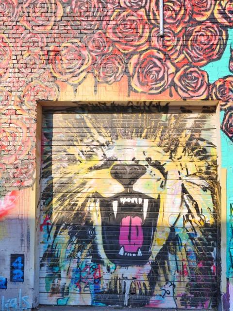 Deep Ellum Street Art Dallas TX lion and roses