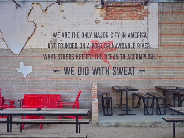 Texas quote at Dot's Hop House Deep Ellum Street Art Dallas TX