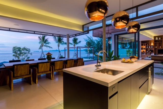 Kitchen at Malouna, a luxury 7 bedroom beach front villa located in Bang Por, Koh Samui, Thailand