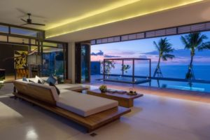 Living room at Malouna, a luxury 7 bedroom beach front villa located in Bang Por, Koh Samui, Thailand