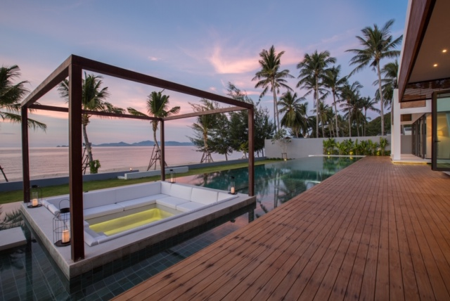 Pool sala and outdoor lounging at Malouna, a luxury 7 bedroom beach front villa located in Bang Por, Koh Samui, Thailand