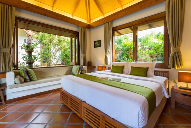 Bedroom at Baan Mika, a luxury 6 bedroom beach front villa located on Plai Laem Beach, Koh Samui, Thailand
