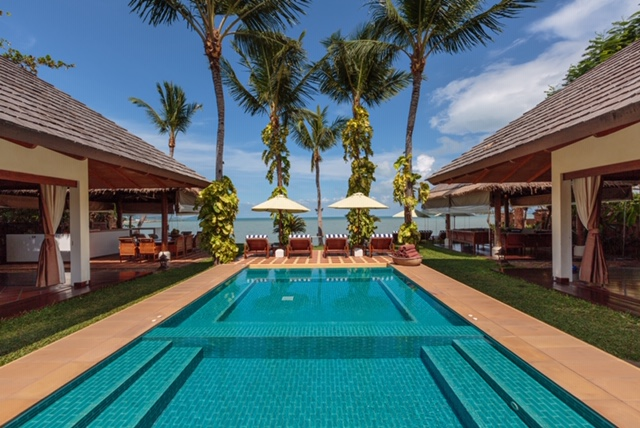 Swimming Pool at Baan Mika, a luxury 6 bedroom beach front villa located on Plai Laem Beach, Koh Samui, Thailand