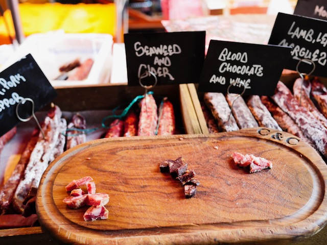 Secret London Food Tours Borough Market blood chocolate and wine sausage
