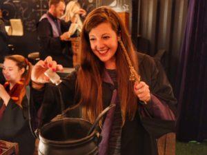 Adding Kalaxian crystals to a magical potion at The Cauldron London