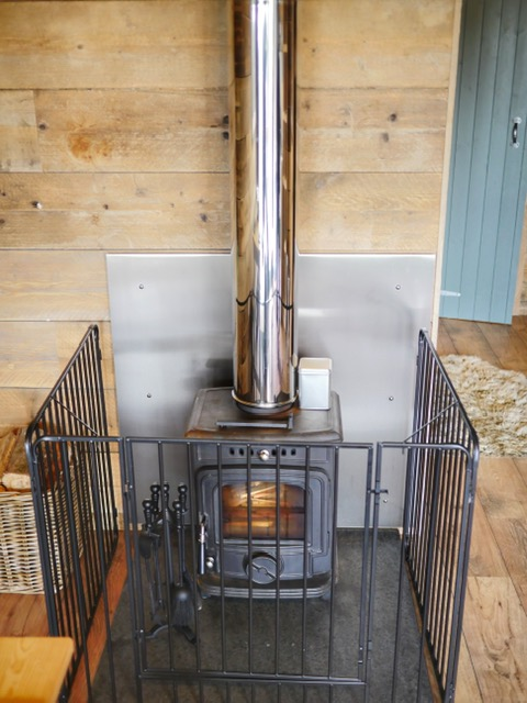Glamping at the Slate Caverns Snowdonia Wales fireplace