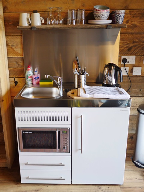 Glamping at the Slate Caverns Snowdonia Wales kitchenette