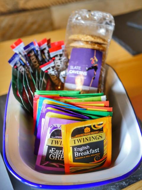 Glamping at the Slate Caverns Snowdonia Wales tea selection