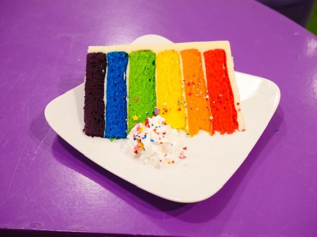 Rainbow 6 layer cake at Milkshake at the Unicorn Kafe Hanoi Vietnam