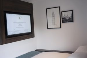 The East London Hotel Bed and TV