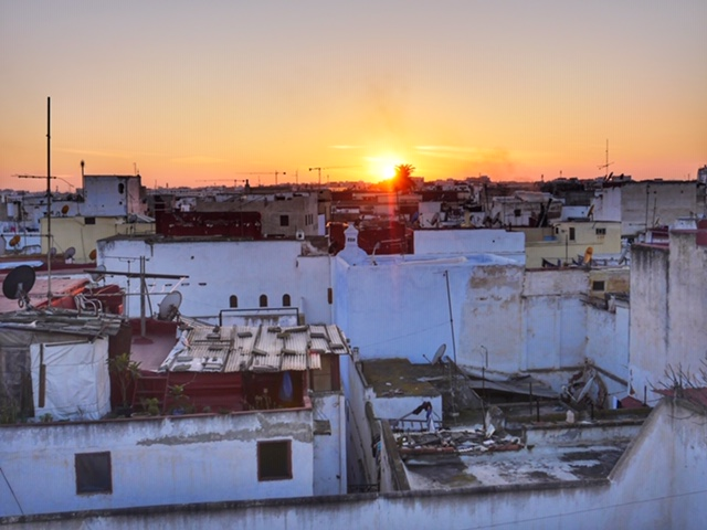 Riad Marhaba Rabat - sunset from rooftop terrace