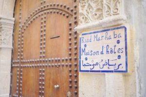 Welcome sign at Riad Marhaba Rabat