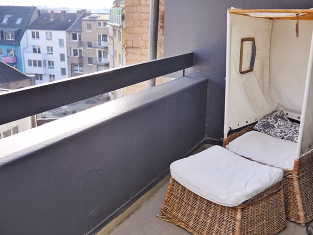 Balcony seating at #hotelfriends Düsseldorf Schuldirektor room