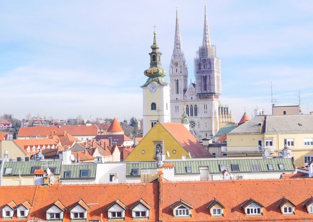 Zagreb Cathedral from Strossmayer promenade