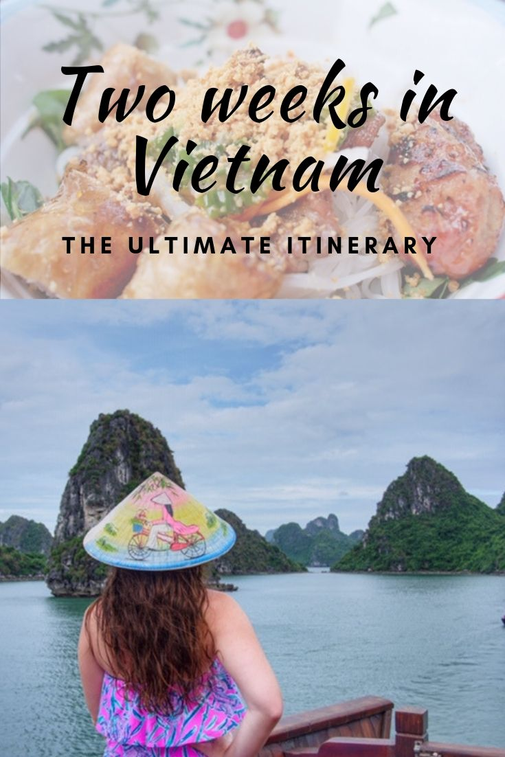 Pinnable image for how to spend two weeks in Vietnam