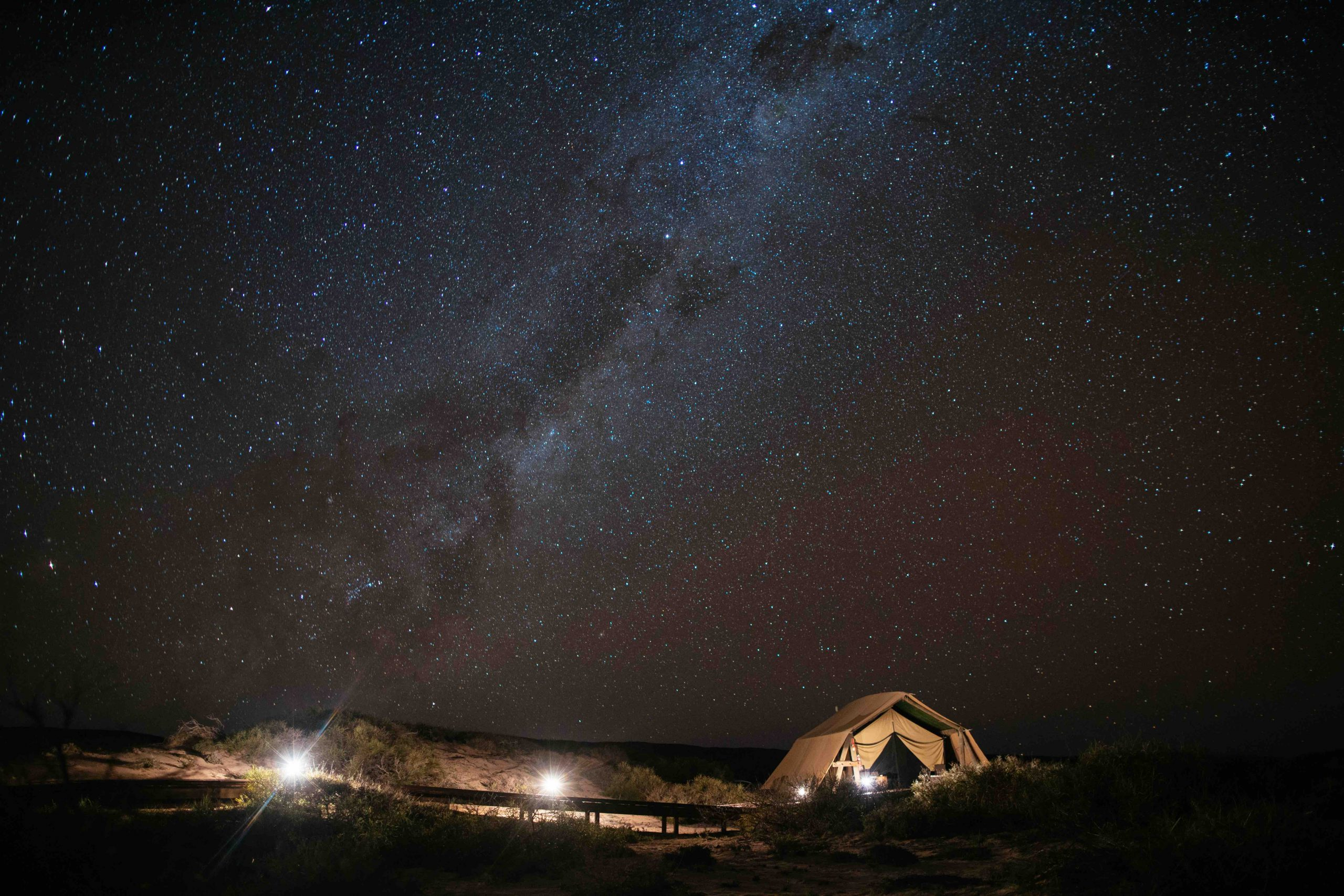 Sal Salis Ningaloo Reef Tent at night Astro Milky Way